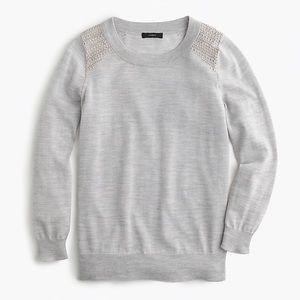 JCREW embellished Tippi grey sweater wool
